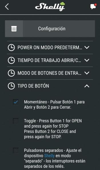 Configuración del tipo de botón