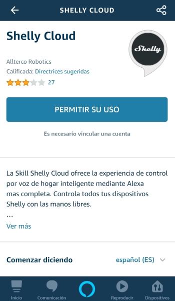 Permitir el uso de la skill de Shelly Cloud vinculando la cuenta.