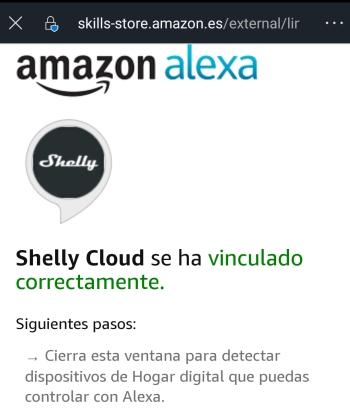 Confirmación de vinculación Shelly Cloud correcta