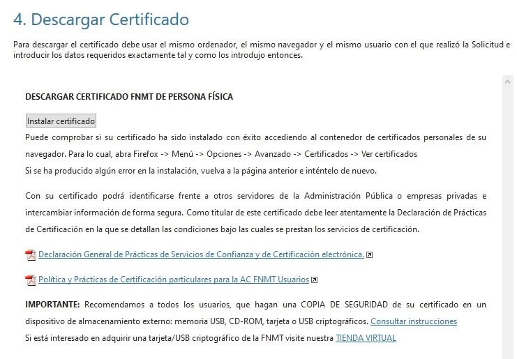 Instalación de certificado