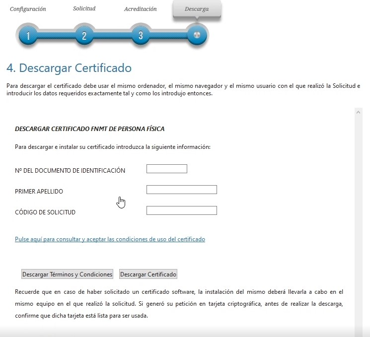 Descarga de certificado - Rellenar datos