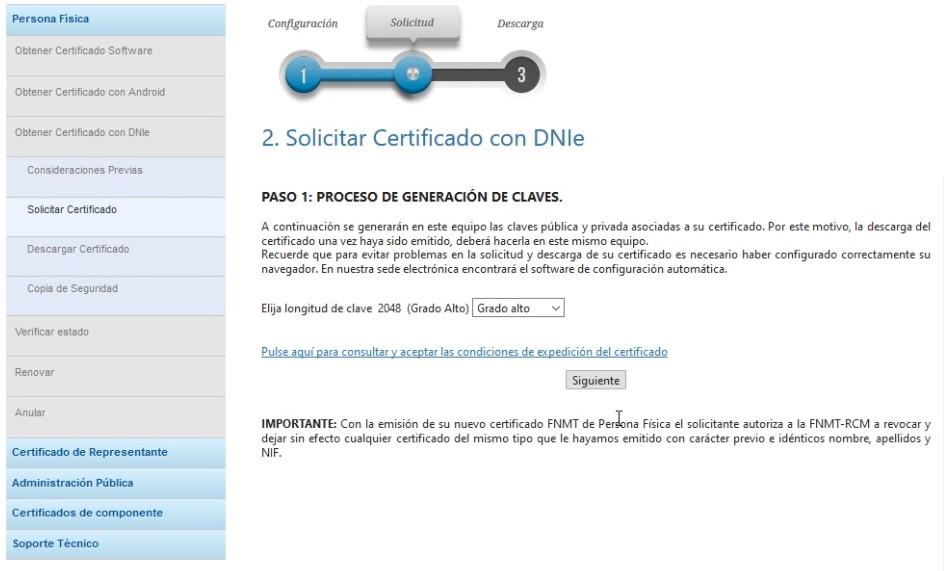 Petición de certificado - Cifrado