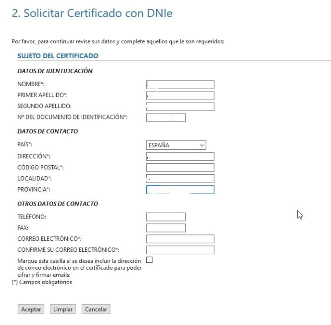 Petición certificado - Rellenar formulario