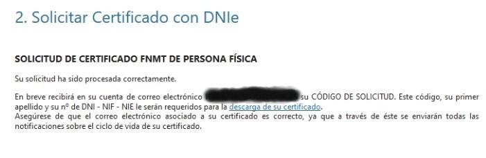 Solicitud de certificado correcta