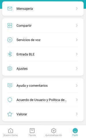 Xiaomi Mi Home - Acceso a la configuración del perfil